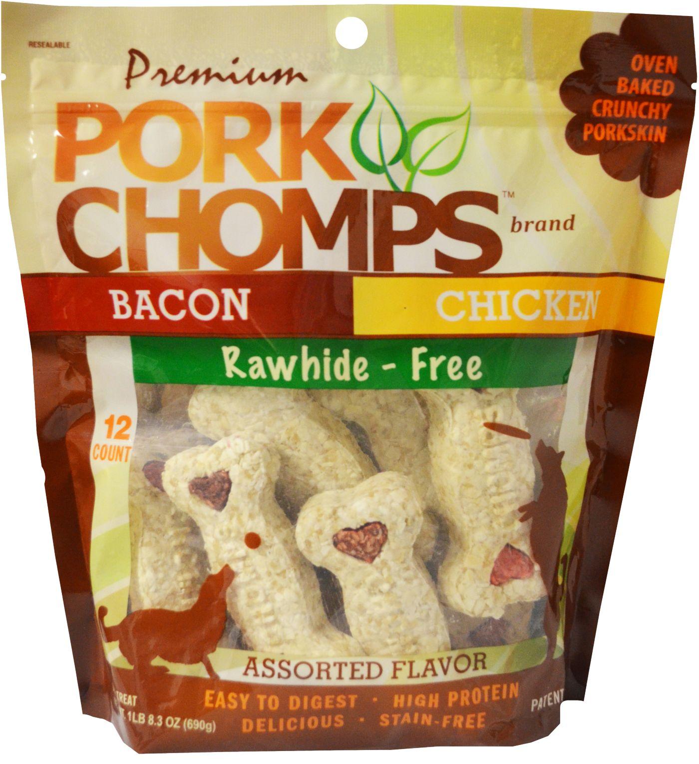 "Pork Chomps Premium 4"" Crunchy Bones Assorted Flavors Dog Treats"