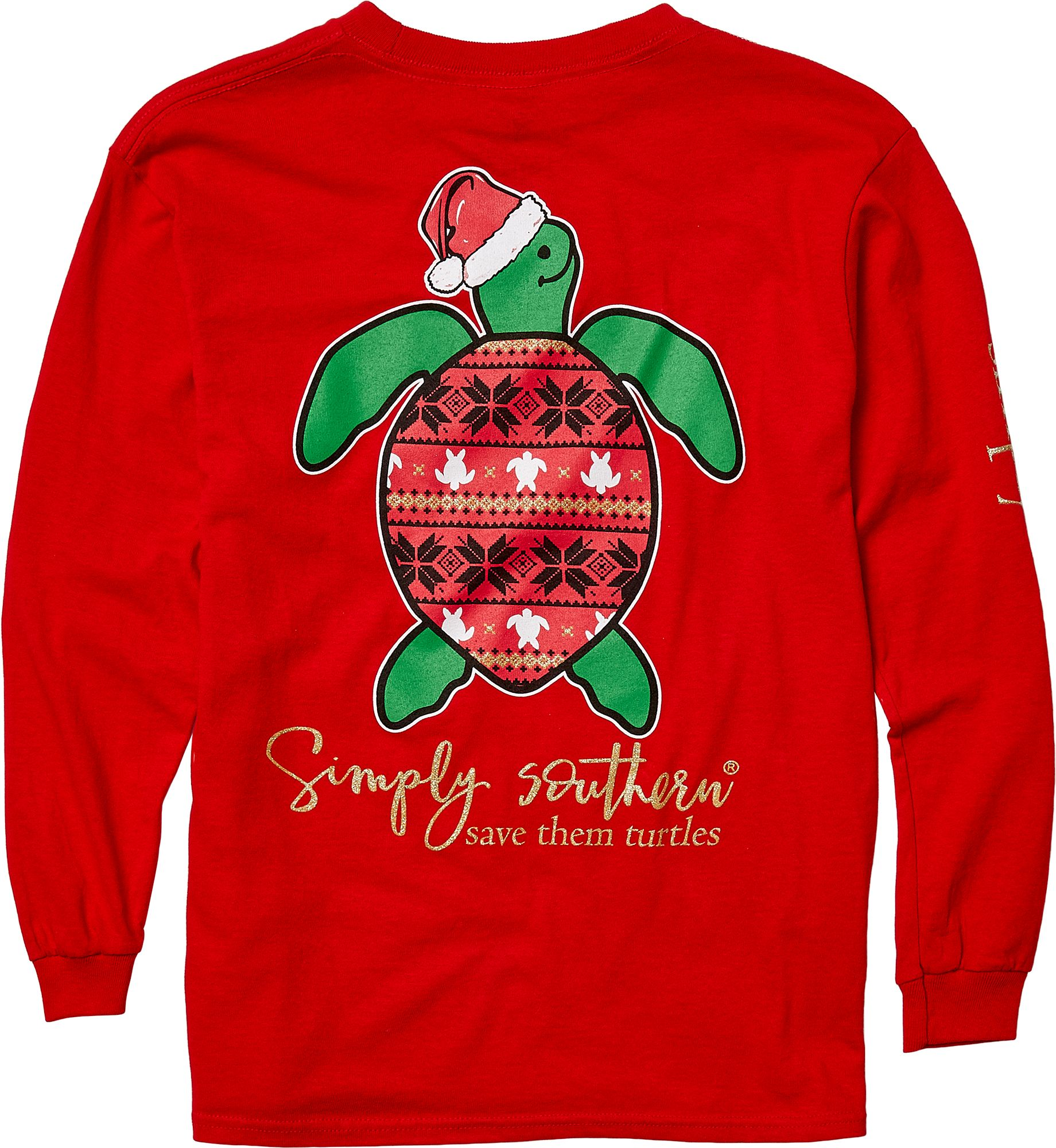 d607c45302 Simply Southern Girls' Save The Turtles Holiday Long Sleeve Shirt ...