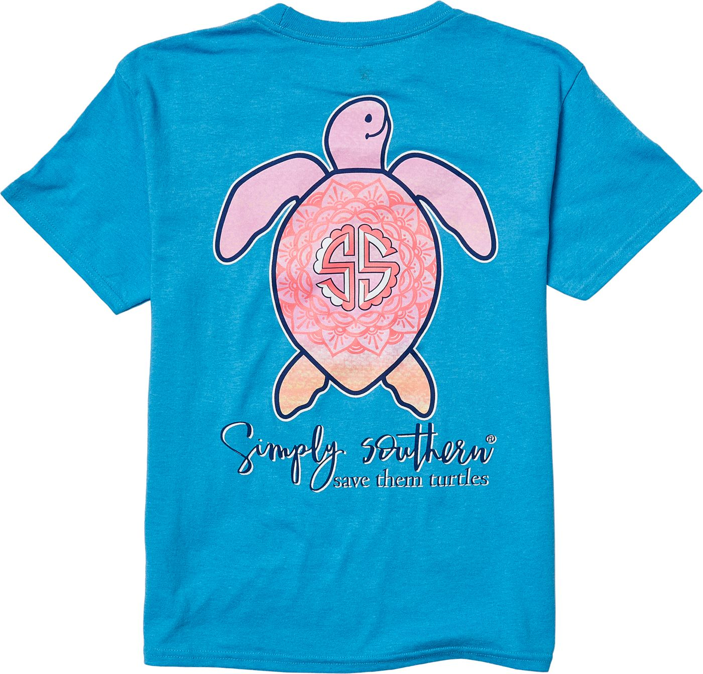 Simply Southern Girls' Save The Turtles Mandala T-Shirt