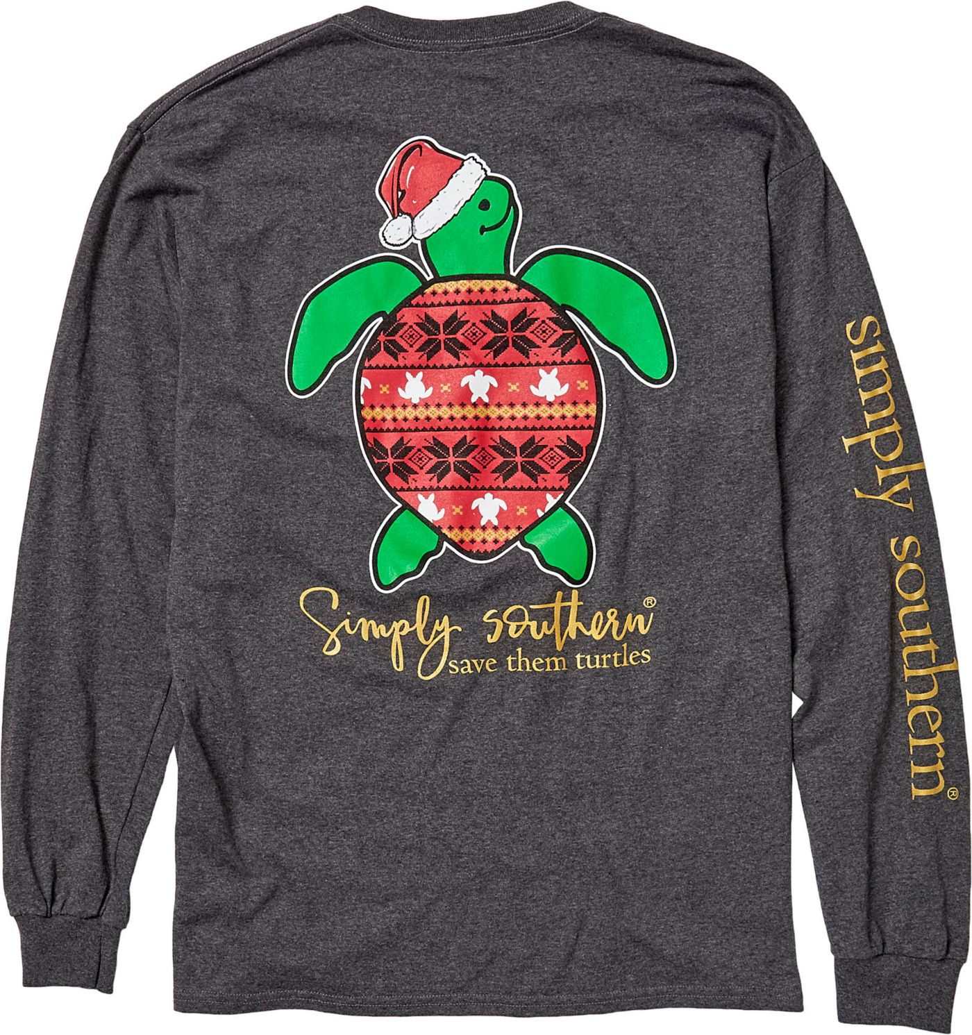 Simply Southern Women's Save The Turtles Holiday Long Sleeve Shirt