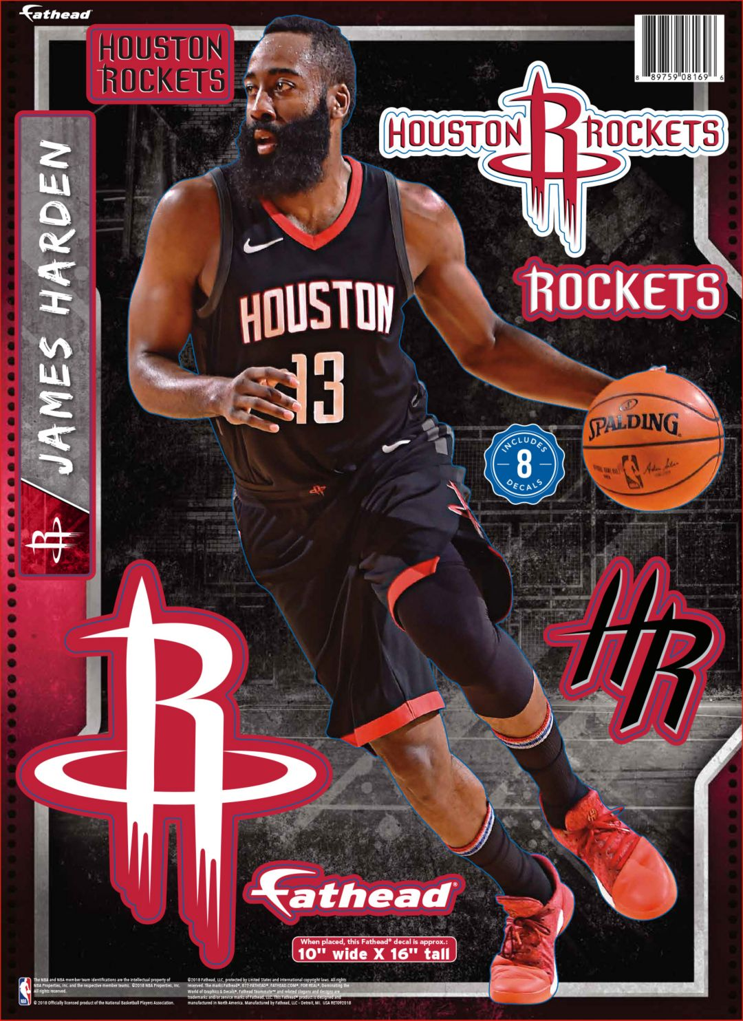 reputable site 9d1af ac7bf Fathead Houston Rockets James Harden Wall Decal