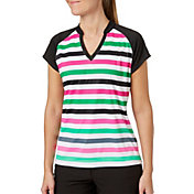 Slazenger Women's Lite Bright Collection Cap Sleeve Stripe Golf Polo