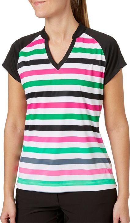 Slazenger Women's Lite Bright Collection Cap Sleeve Stripe Golf Polo