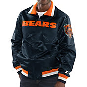 Starter Men's Chicago Bears Navy Full-Zip Satin Jacket