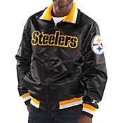 Starter Men's Pittsburgh Steelers Black Full-Zip Satin Jacket