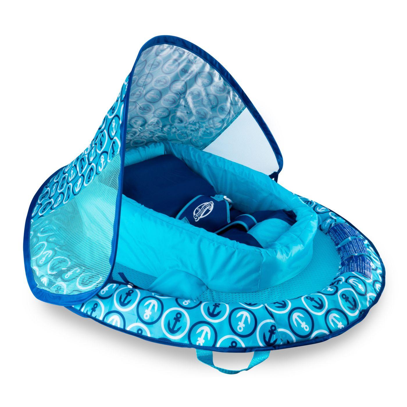 SwimWays Infant Baby Spring Float – Blue Anchor