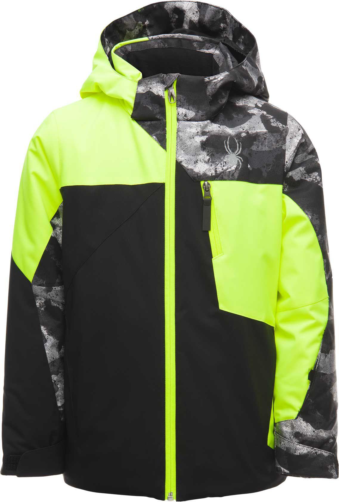 Spyder Boys' Ambush Jacket, Size: 12, Black/Bryte Yellow/Green thumbnail