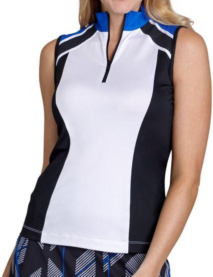 Tail Women's Sleeveless ¼ Zip Color Block Golf Polo