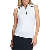 Tail Women's Sleeveless ¼ Zip Contrast Stripe Golf Polo