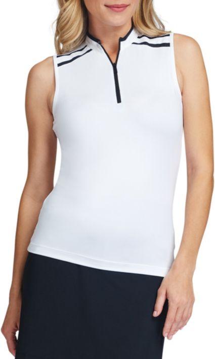 Tail Women's Sleeveless ¼ Zip Contrast Stripe Golf Polo