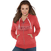Touch by Alyssa Milano Women's San Antonio Commanders Glitter Red Heathered Full-Zip Hoodie