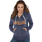 Touch by Alyssa Milano Women's Orlando Apollos Glitter Navy Heathered Full-Zip Hoodie