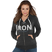 Touch by Alyssa Milano Women's Birmingham Iron Glitter Black Heathered Full-Zip Hoodie
