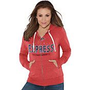 Touch by Alyssa Milano Women's Memphis Express Glitter Red Heathered Full-Zip Hoodie