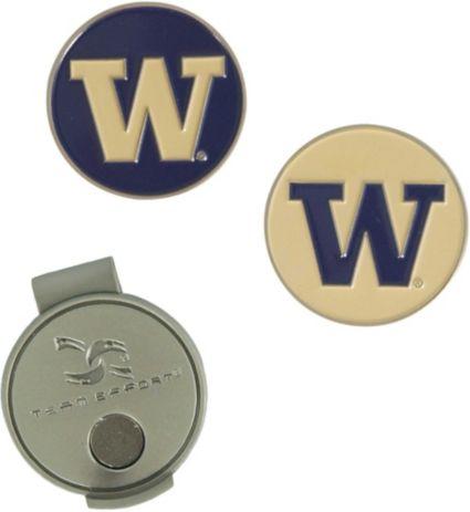 Team Effort Washington Huskies Hat Clip and Ball Markers Set