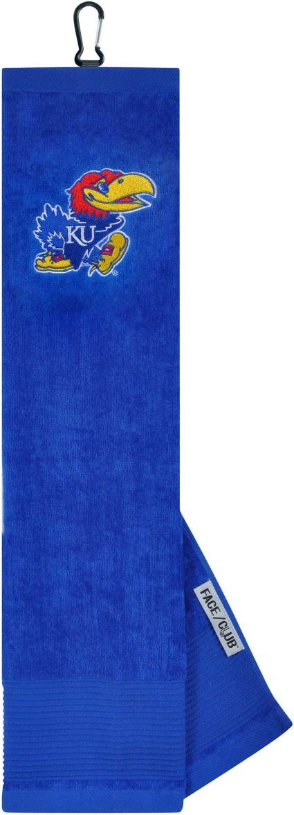 Team Effort Kansas Jayhawks Embroidered Face/Club Tri-Fold Towel