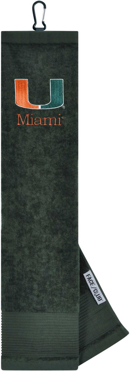 Team Effort Miami Hurricanes Embroidered Face/Club Tri-Fold Towel