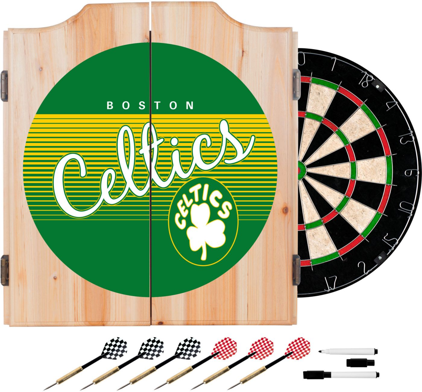 Trademark Global Boston Celtics Hardwood Classic Dart Set