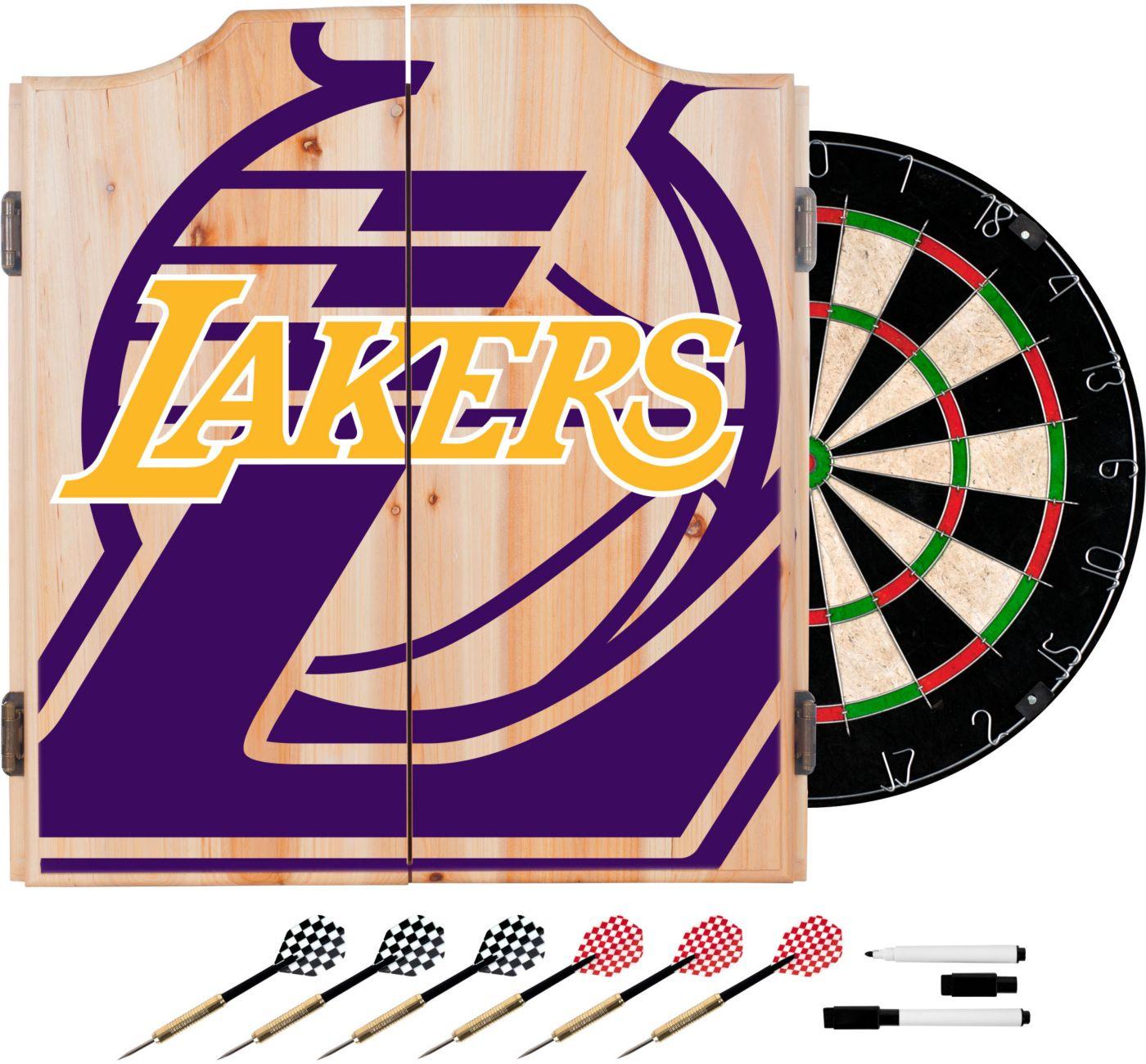 Trademark Global Los Angeles Lakers Fade Logo Dart Cabinet Set