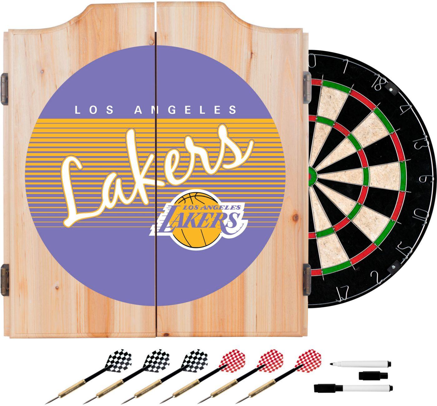 Trademark Global Los Angeles Lakers Hardwood Classic Dart Cabinet