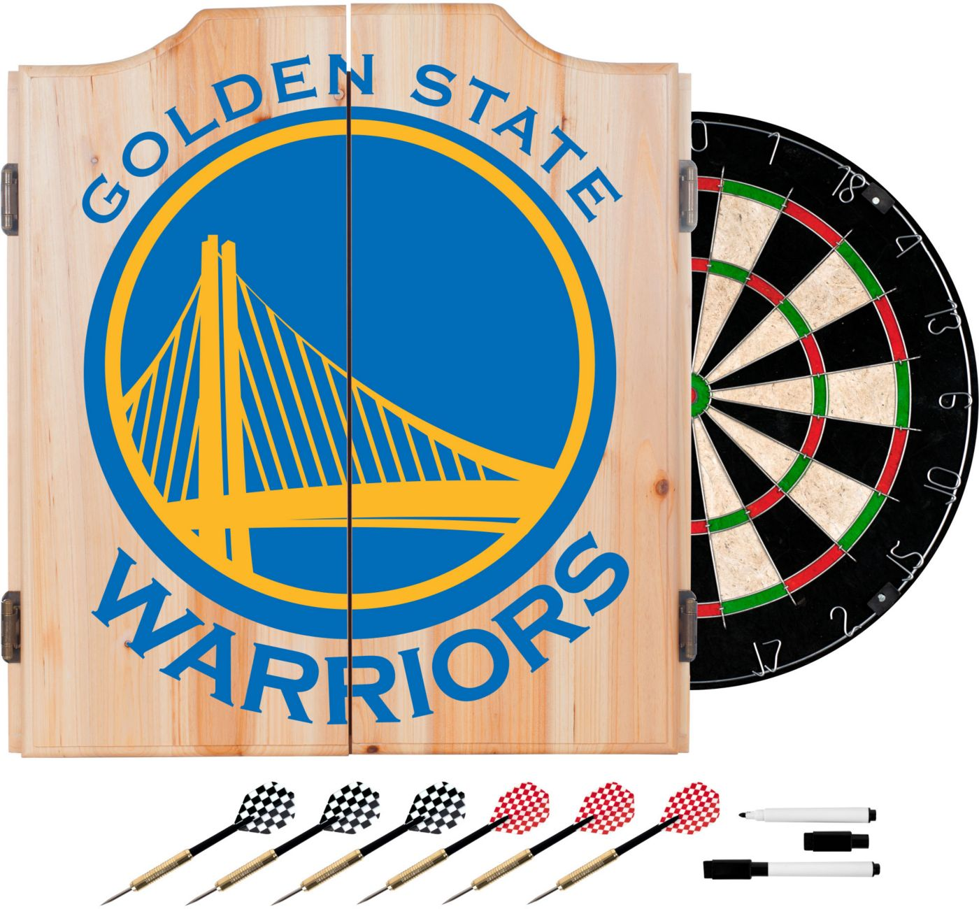 Trademark Global Golden State Warriors Fade Logo Dart Cabinet Set