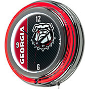 Trademark Global Georgia Bulldogs Chrome Neon Clock
