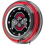 Trademark Global Ohio State Buckeyes Black Chrome Neon Clock