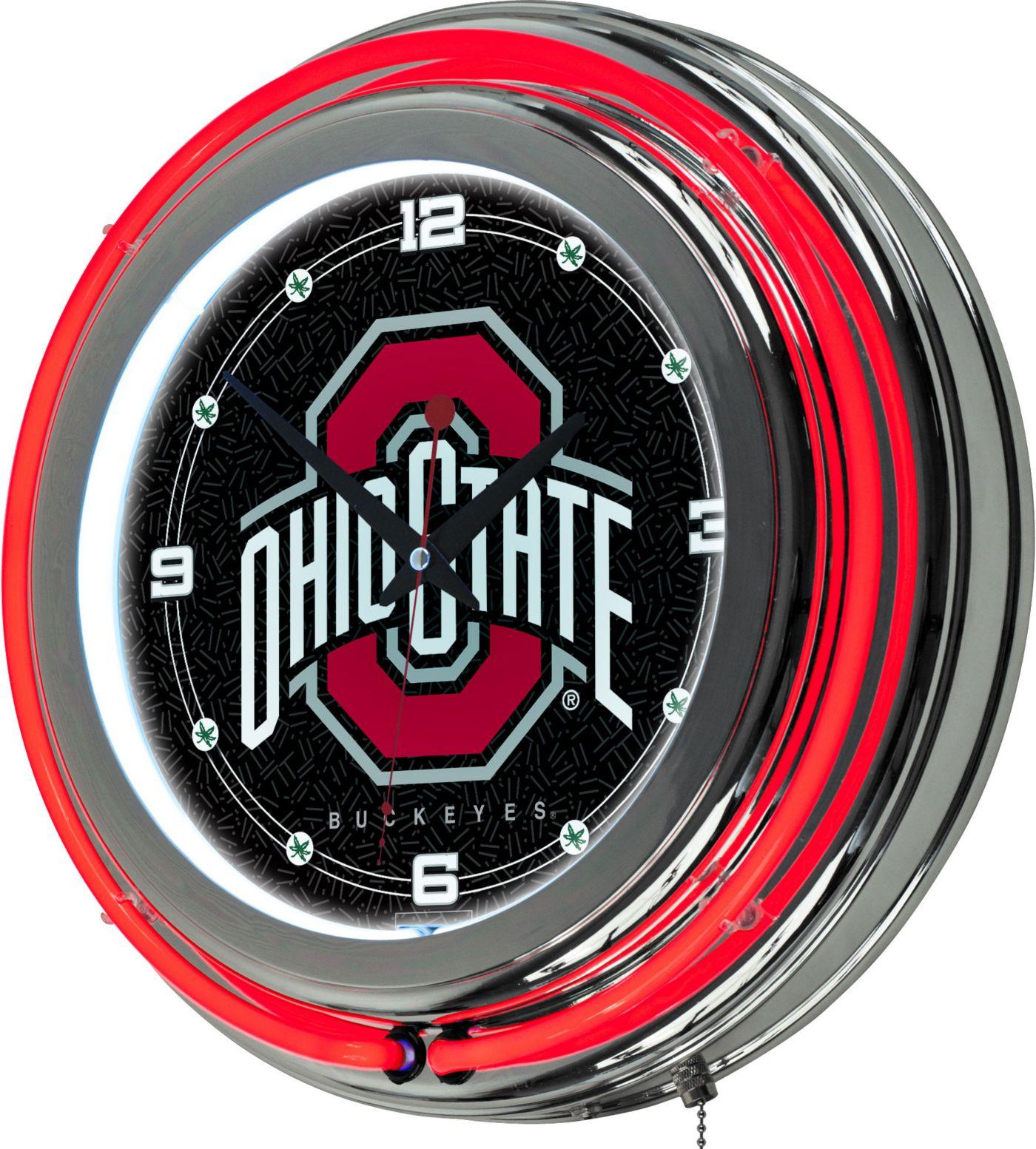 Trademark Global Ohio State Buckeyes Black Chrome Neon Clock