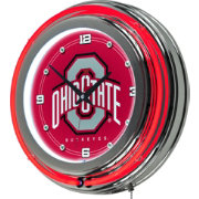 Trademark Global Ohio State Buckeyes Chrome Neon Clock