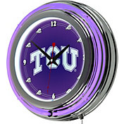 Trademark Global TCU Horned Frogs Chrome Neon Clock