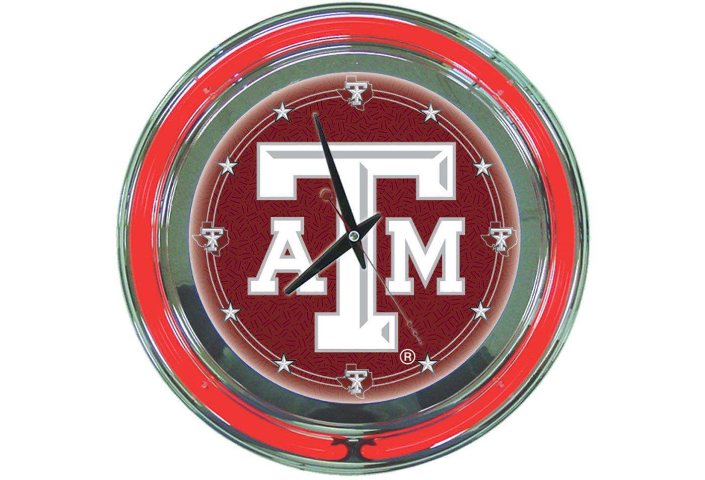 Trademark Global Texas A&M Aggies Chrome Neon Clock
