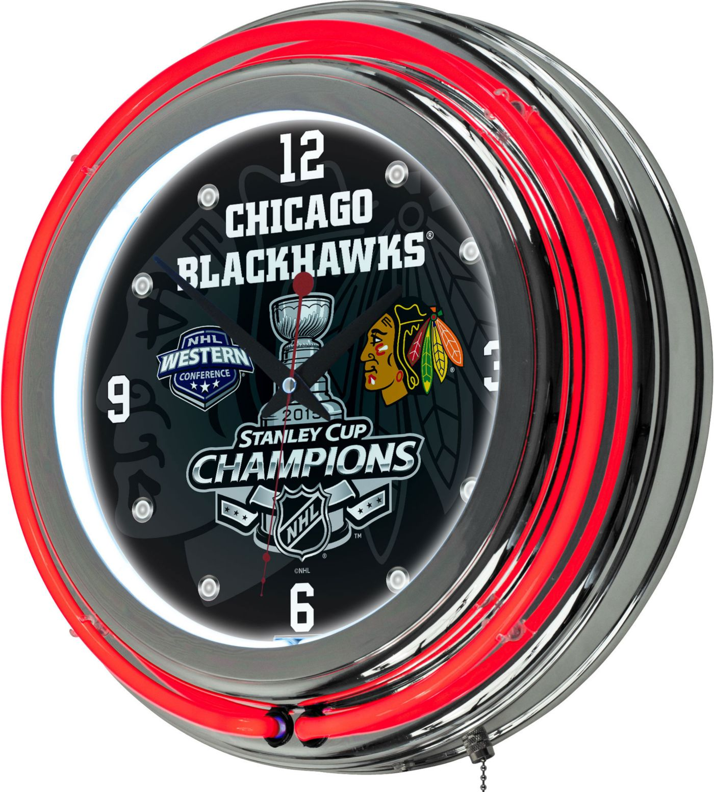Trademark Global Chicago Blackhawks 2015 Stanley Cup Neon Clock