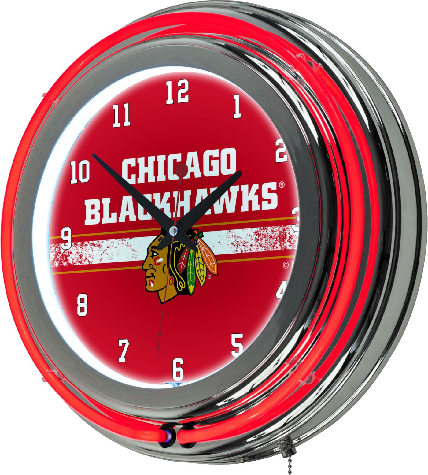 Trademark Global Chicago Blackhawks Chrome Neon Clock