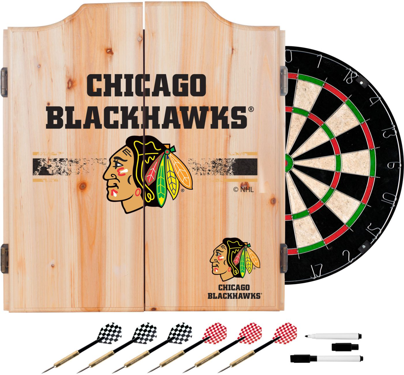 Trademark Global Chicago Blackhawks Dart Cabinet Set
