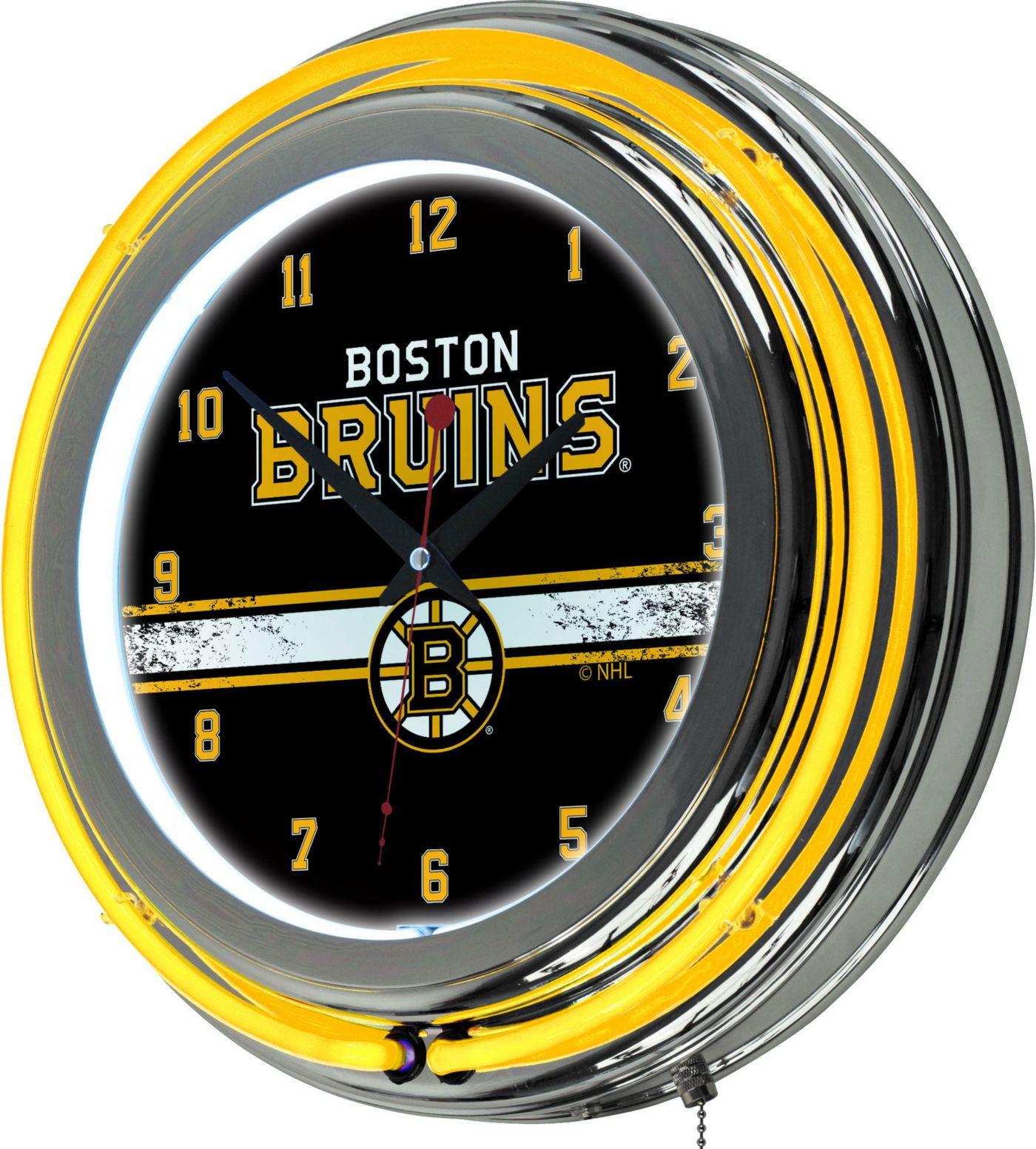 Trademark Global Boston Bruins Chrome Neon Clock