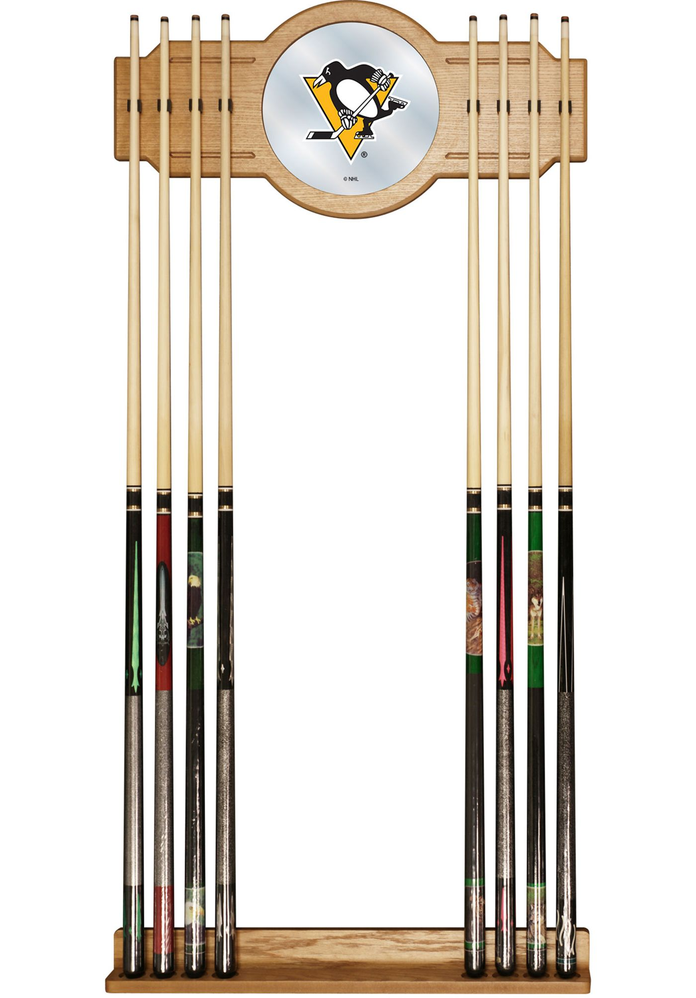 Trademark Global Pittsburgh Penguins Cue Rack with Mirror