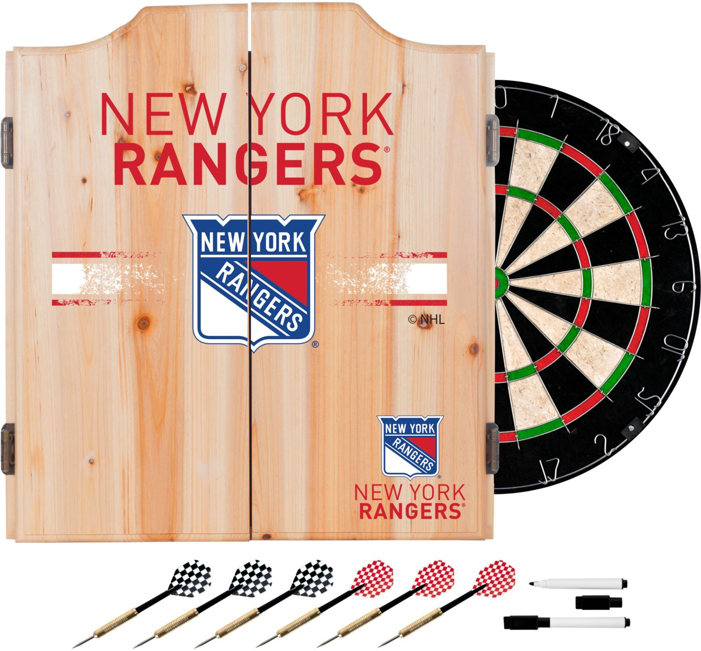 Trademark Global New York Rangers Dart Cabinet Set