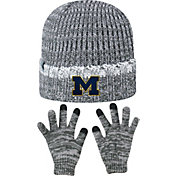 Top of the World Youth Michigan Wolverines Grey Lil Cyber Beanie and Gloves Set