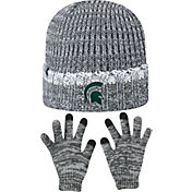 Top of the World Youth Michigan State Spartans Grey Lil Cyber Beanie and Gloves Set