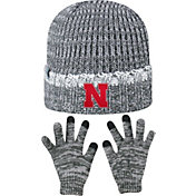 Top of the World Youth Nebraska Cornhuskers Grey Lil Cyber Beanie and Gloves Set