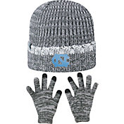Top of the World Youth North Carolina Tar Heels Grey Lil Cyber Beanie and Gloves Set