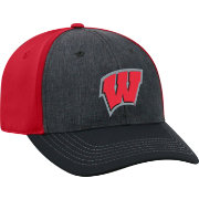 Top of the World Men's Wisconsin Badgers Grey/Red Reach 1Fit Flex Hat