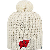 Top of the World Women's Wisconsin Badgers Slouch White Knit Beanie