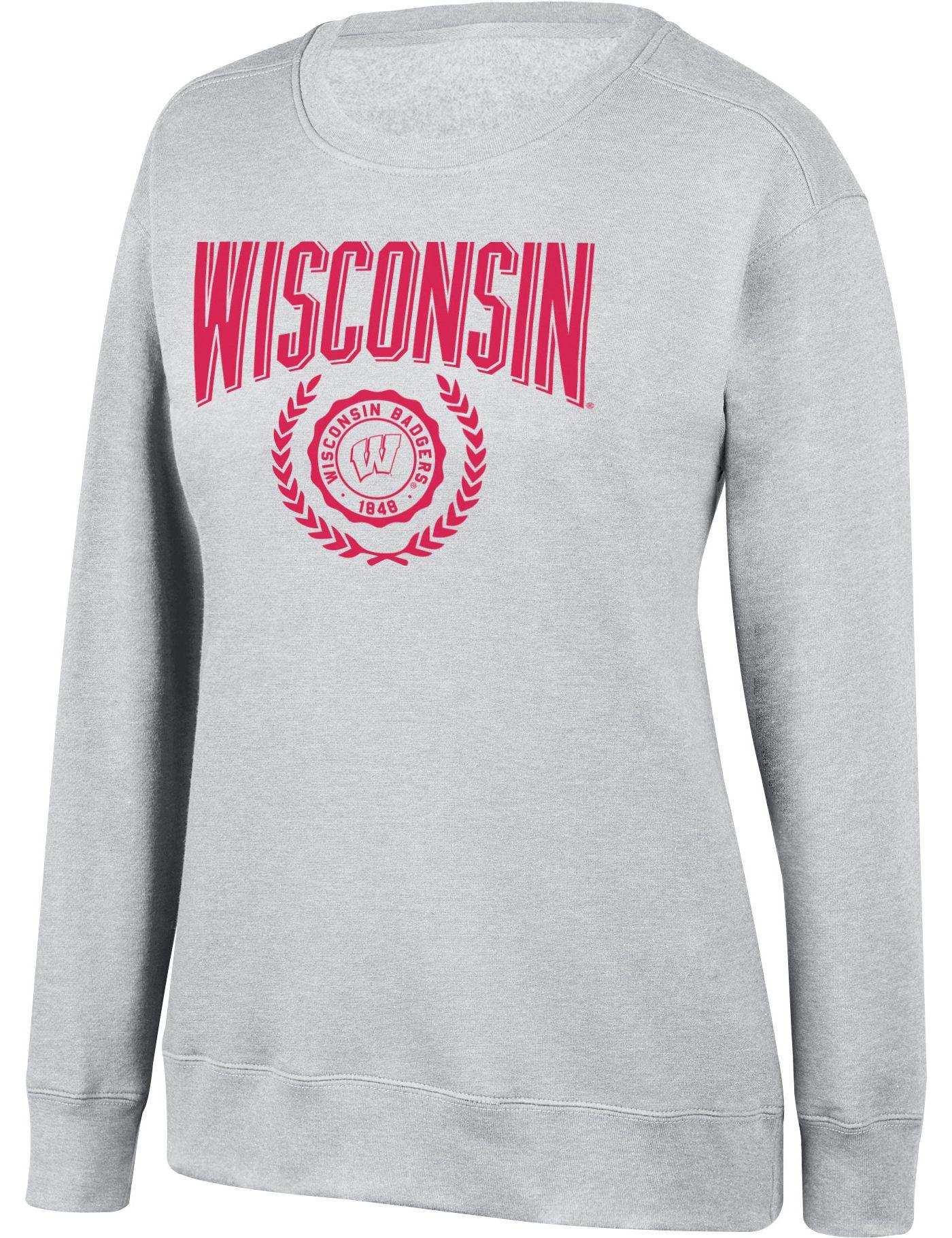 Top of the World Women's Wisconsin Badgers Favorite Fleece White Crewneck Sweatshirt