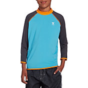 TYR Boys' Solid Splice Long Sleeve Rash Guard