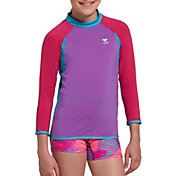 TYR Girls' Solid Splice Long Sleeve Rash Guard