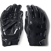 Under Armour Adult F6 Receiver Gloves in Black/Black