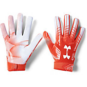 Under Armour Adult F6 Receiver Gloves in Dark Orange/White