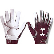 Under Armour Adult F6 Receiver Gloves in Maroon/White