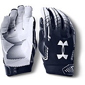 Under Armour Adult F6 Receiver Gloves in Navy/White